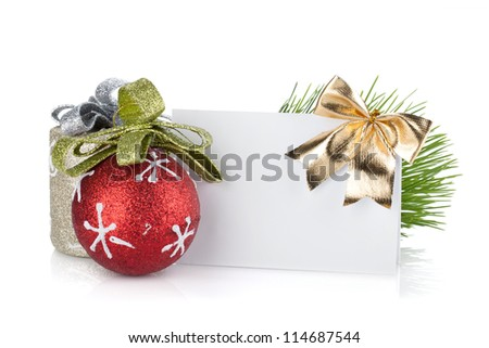 Empty christmas gift card and balls. Isolated on white background