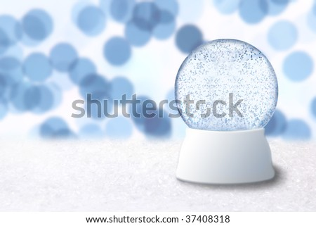 Empty Christmas Snow Globe With Blue Background. Insert Your Own Image or Text