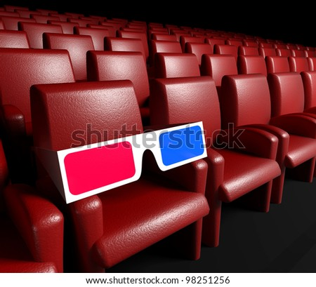 Empty cinema hall with auditorium and 3d glasses