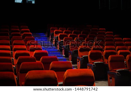 empty Cinema theatre hall with red comfortable chair #1448791742