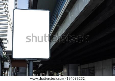 empty city billboard sign in city background