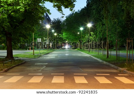 Stock Photo Empty city road at night