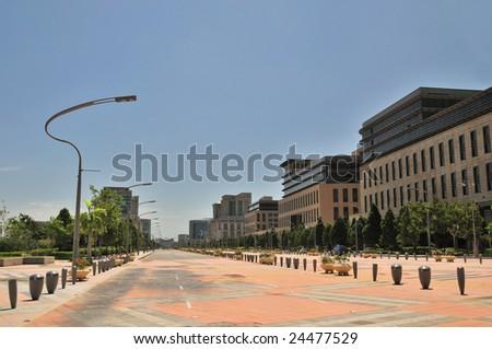 Empty City Street in Hot Summer weather