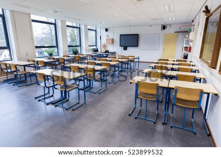 Empty classroom for biology lesson on secondary school
