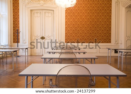 empty classroom in the castle with glass seats