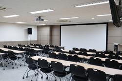 Empty classroom preparing for education