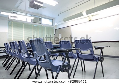 empty classroom with chair and board