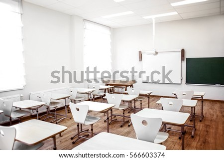 Empty classroom with chairs and desks Stock foto ©