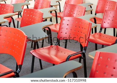Empty classroom with chairs in a High school