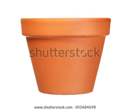 empty clay flower pot isolated on white  background #303684698
