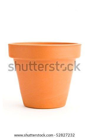 empty clay flower pot isolated on white background - stock photo