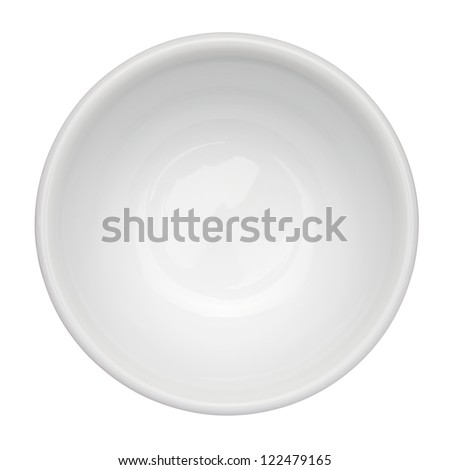 Empty clean bowl isolated on white background, top view