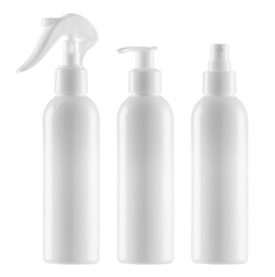 Empty, clean white plastic containers - three cylindrical bottles with minitrigger and atomiser sprays and pump dispenser - photographic mockup - clipping paths - cosmetic or medical blank packaging