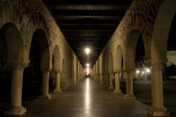Empty cloister outside the Memorial Church in Palo Alto, California