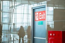 empty closed emergency exit door at airport