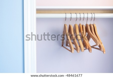 Empty coat-hangers in an empty closet  no clothes