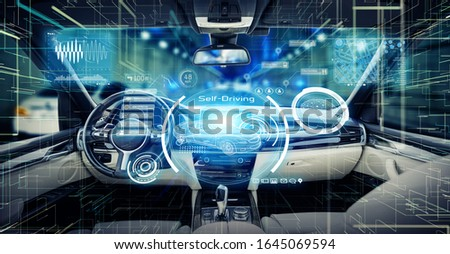 Empty cockpit of a autonomous car. Automotive technology. Stockfoto ©
