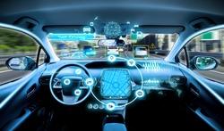 empty cockpit of vehicle. HUD(Head Up Display) and digital instruments panel, autonomous car