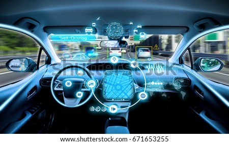 empty cockpit of vehicle. HUD(Head Up Display) and digital instruments panel, autonomous car