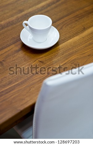 Empty coffee cup on beautiful wooden table
