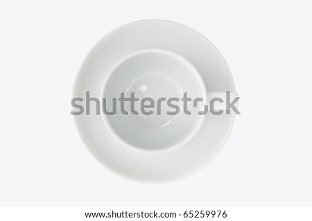 empty coffee cup top view isolate on white background