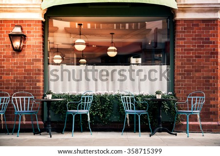 Empty coffee terrace with tables and chairs in marylebone london #358715399