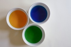 Empty colored water in bowls for egg dying for easter. Simple, from above / flat lay with bold colors (yellow, blue and green) and white background, space for text / copy.