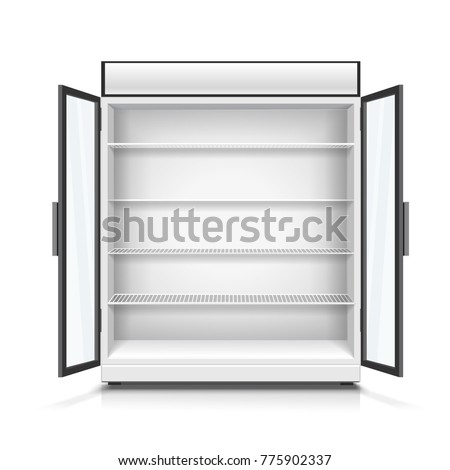 Empty commercial fridge with shelves 3d illustration