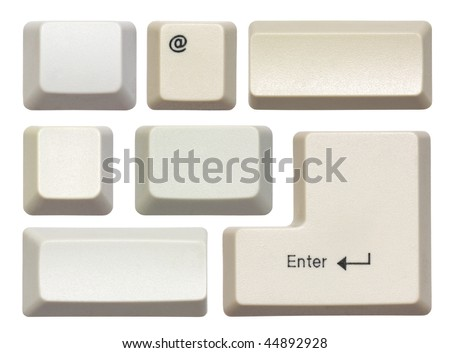 Empty computer keys isolated on white - stock photo