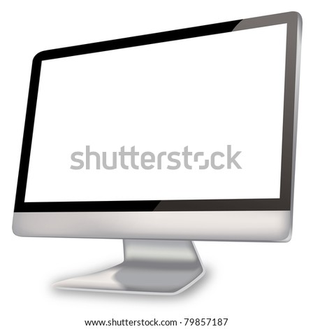 Empty computer screen added clipping path