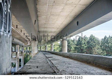 empty concrete bridge construction