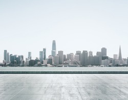 Empty concrete embankment on the background of a beautiful San Francisco skyline at daytime, mock up