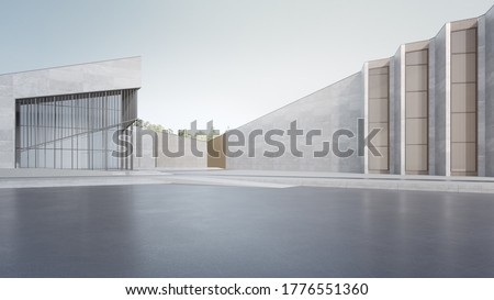 Empty concrete floor and gray wall. 3d rendering of modern building with clear sky background.