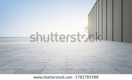 Empty concrete floor and gray wall. 3d rendering of sea view plaza with clear sky background.
