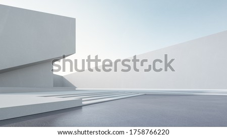 Empty concrete floor for car park. 3d rendering of abstract white building with blue sky background.