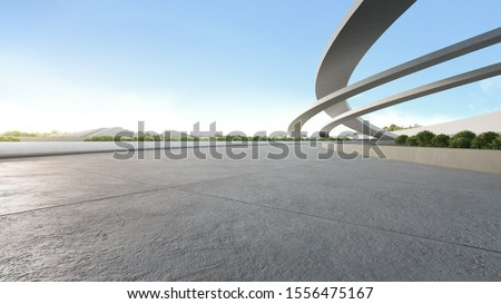Empty concrete floor in city park. 3d rendering of outdoor space and future architecture with blue sky background.