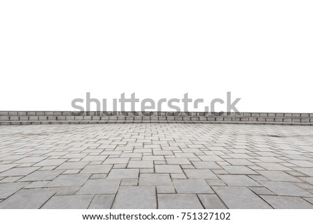 Shutterstock empty concrete square floor isolated on white background. Can use as a foreground material or present product.