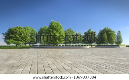 Empty concrete tiles with comfortable garden with blue sky, nice street pedestrian with beautiful park #1069037384