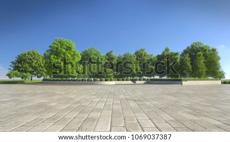 Empty concrete tiles with comfortable garden with blue sky, nice street pedestrian with beautiful park #1069037387
