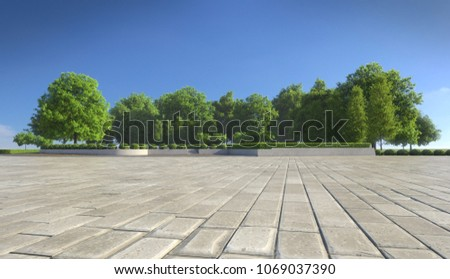 Empty concrete tiles with comfortable garden with blue sky, nice street pedestrian with beautiful park #1069037390