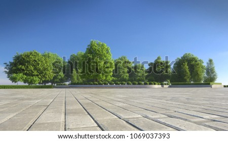 Empty concrete tiles with comfortable garden with blue sky, nice street pedestrian with beautiful park #1069037393