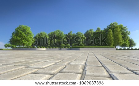 Empty concrete tiles with comfortable garden with blue sky, nice street pedestrian with beautiful park #1069037396