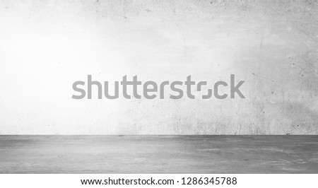 Empty concrete wall. Concrete floor. Abstract studio gallery. Gray free background. 3D Rendering