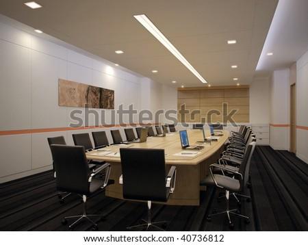 Empty conference room. Interior design idea. Computer graphic rendering