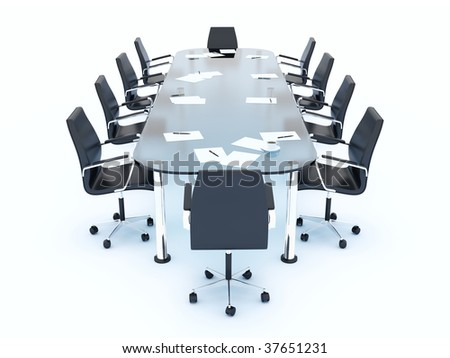 Empty conference table isolated on white