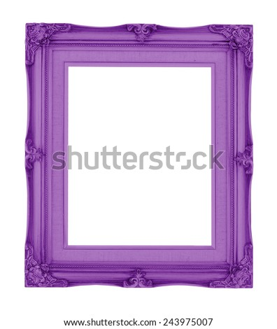 Empty contemporary vintage frame with purple vibrant color isolated on white background