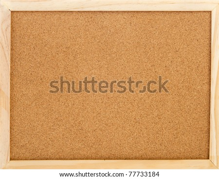 empty cork memo board with wooden frame