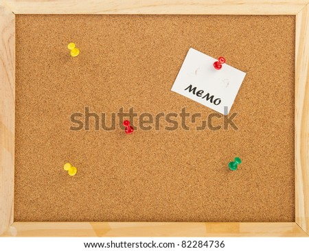 empty cork memo board with wooden frame and pins