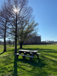 Empty Corona park NYC during Coronavirus outbreak. Parks in nyc, which are always full of life and people, especially around spring and summer time, are empty now because of the pandemic Covid19.