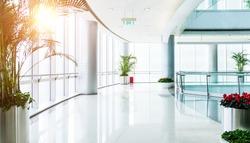 Empty corridor in modern office building.